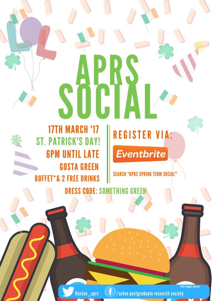 APRS Social Welcome Poster - Click to visit the event page.