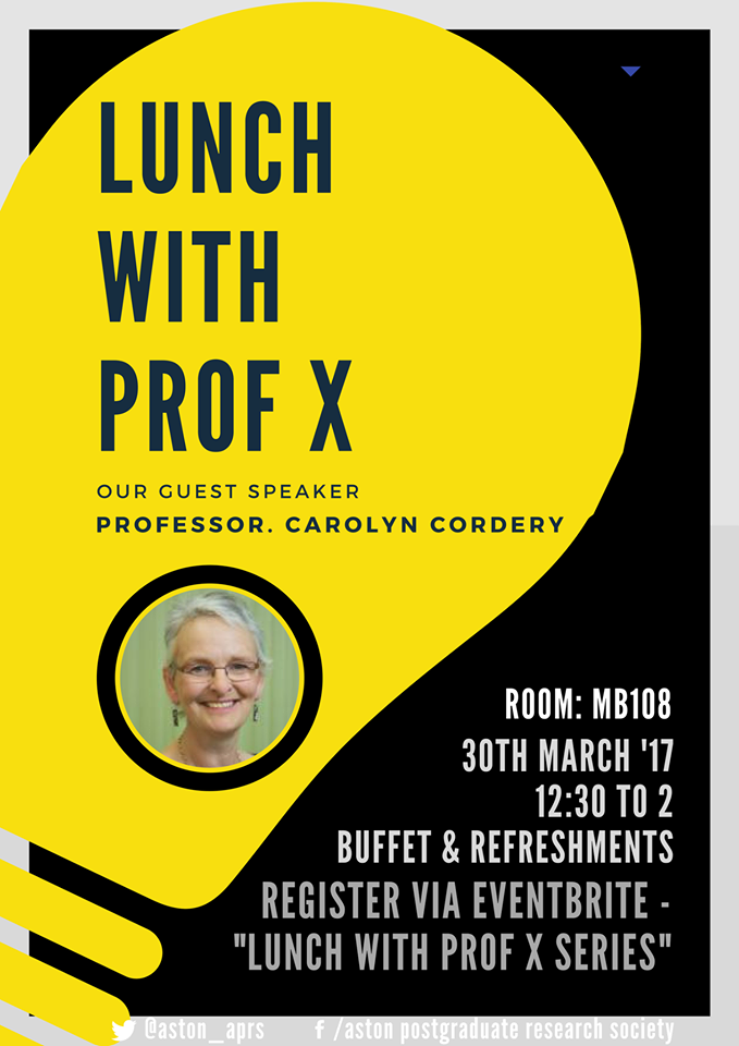 APRS Lunch with Professor X Poster - Click to visit the event page.