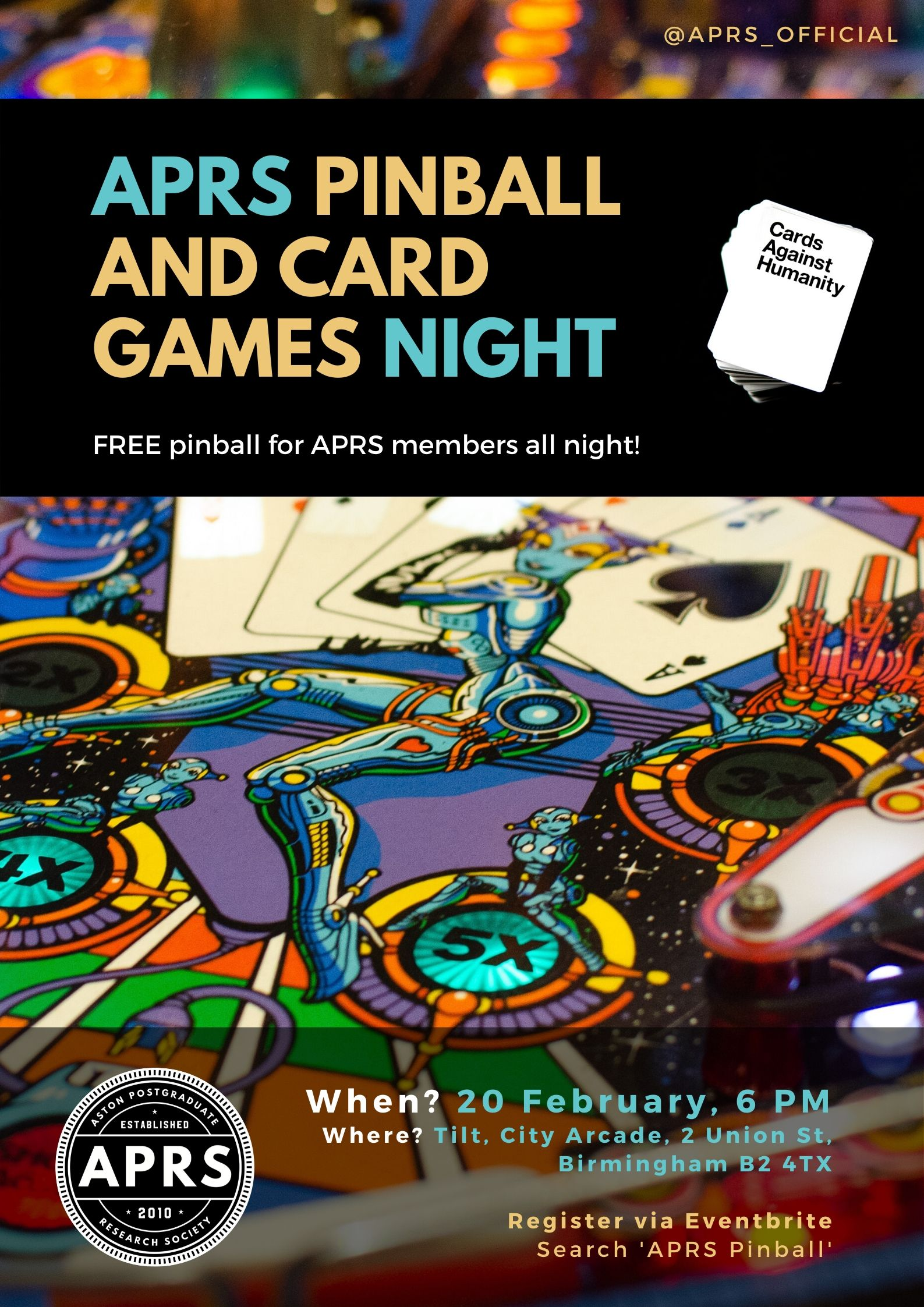 APRS Pinball & Card Games night 2020